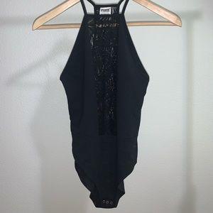 PINK lace halter top bodysuit